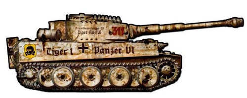 Tiger Tank Custom Shape Metal Sign 25 x 8 Inches