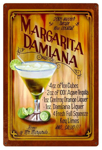 Margarita Damiana Recipe Metal Sign 24 x 36 Inches