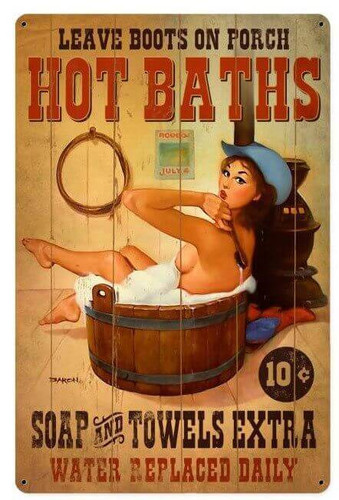 Hot Baths Pinup Metal Sign 12 x 18 Inches