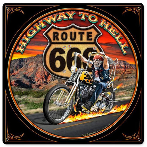 Highway To Hell Metal Sign 12  x 12 Inches