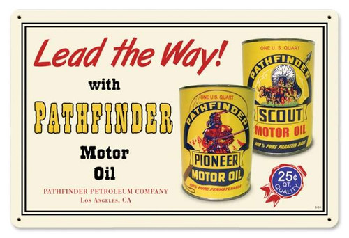 Retro Pathfinder Oil Metal Sign 18 x 12 Inches