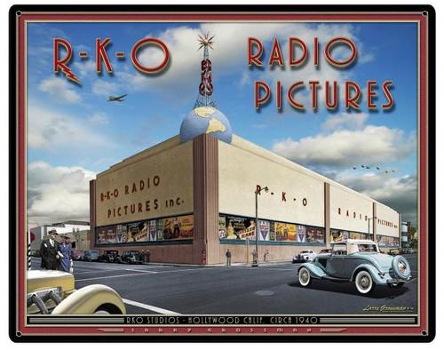 RKO Studios Custom Shape Metal  Sign 30 x 24 Inches