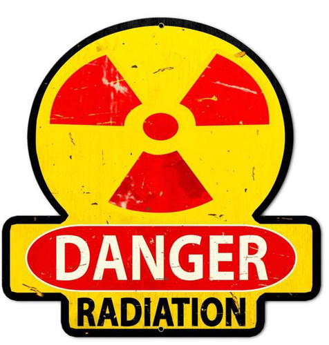 Danger Radiation Custom Shape Metal  Sign 26 x 26 Inches