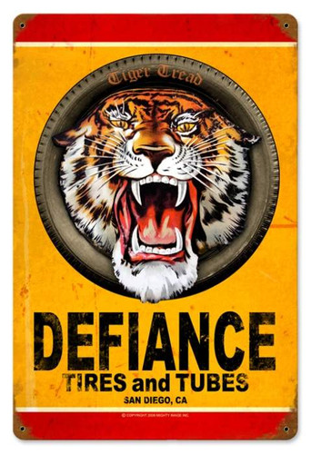 Vintage Defiance Tires Metal Sign   12 x 18 Inches