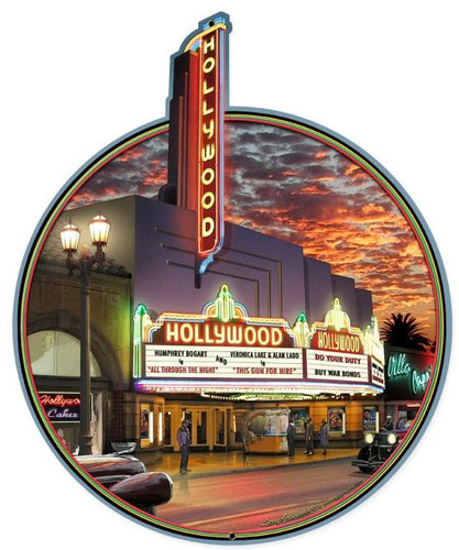 Hollywood Theater Custom Metal Shape Sign 28 x 18 Inches