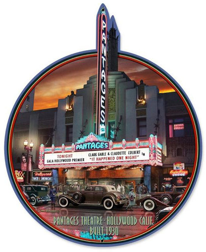 Pantages Theatre Custom Metal Shape Sign 22 x 27 Inches