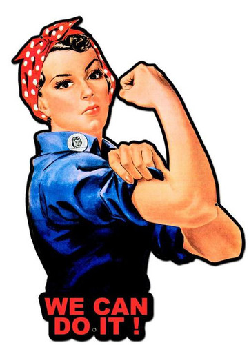 Rosie The Riveter We Can Do It Custom Metal Shape Sign 23 x 16 Inches