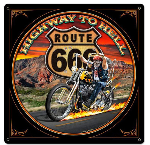 Highway To Hell Metal Sign 24 x 24 Inches