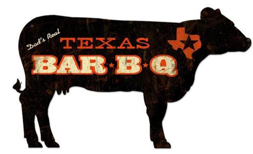Texas BBQ Cow Custom Shape Metal Sign 28 x 16 Inches