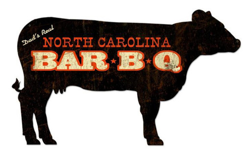 North Carolina BBQ Cow Custom Shape Metal Sign 28 x 16 Inches