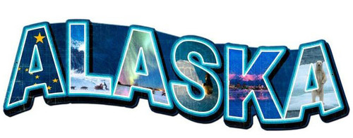 Alaska Landmarks Custom Shape Metal Sign 28 x 16 Inches