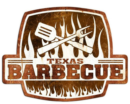Texas Barbecue Custom Shape Metal Sign 25 x 19 Inches