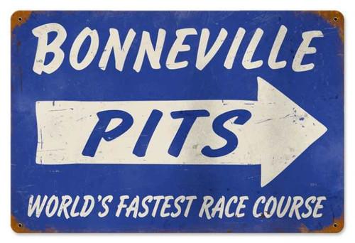 Retro Bonneville Pits Metal Sign 20 x 5 Inches
