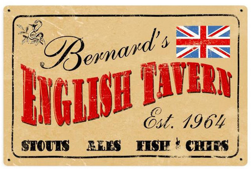 Old English Tavern Metal Sign - Personalized  18 x 12 Inches