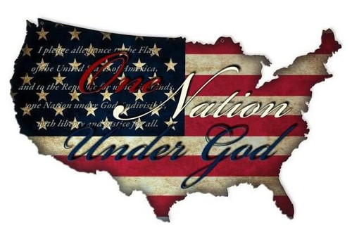One Nation USA Shape Retro Metal Sign 25 x 16 Inches