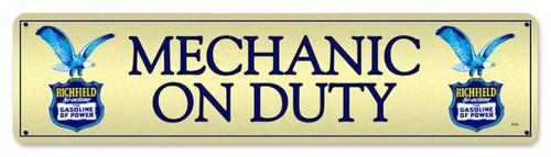 Retro Richfield Mechanic Metal Sign 20 x 5 Inches