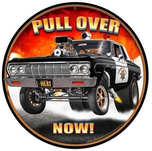Pull Over Now Round Metal Sign 14 x 14 Inches