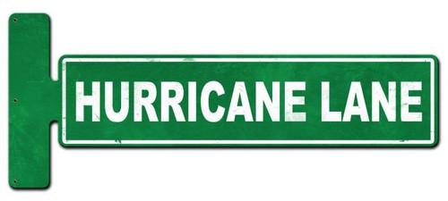 Hurricane Lane Flange Custom Shape Metal Sign 9 x 23 Inches