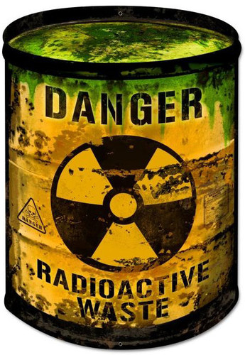 Radioactive Barrel Custom Shape Metal Sign 14 x 20 Inches