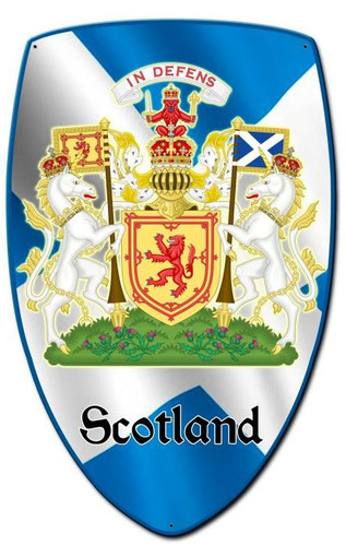 Scotland Shield Custom Shape Metal Sign 15 x 24 Inches