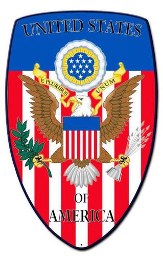 USA Shield Custom Shape Metal Sign 15 x 24 Inches