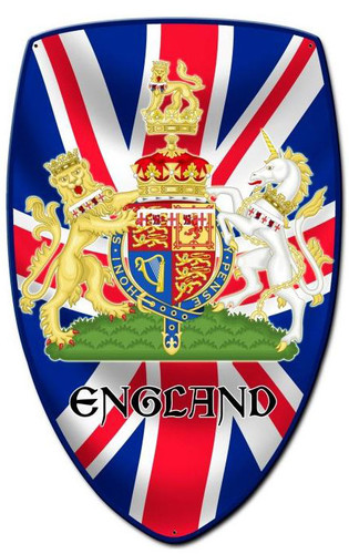 England Shield Custom Shape Metal Sign 15 x 24 Inches