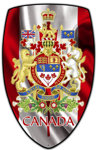 Canada Shield Custom Shape Metal Sign 15 x 24 Inches