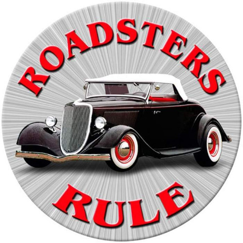 Vintage Roadsters Rule Round Metal Sign 14 x 14 Inches