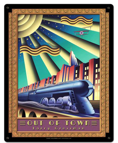 Out Of Town Custom Shape Metal Sign 22 x 28 Inches