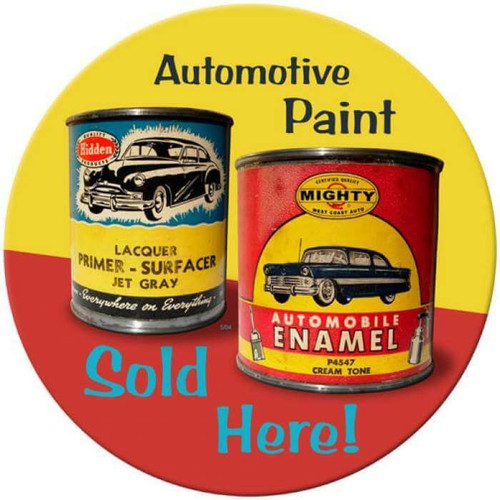 Vintage Auto Paint Round Metal Sign 14 x 14 Inches