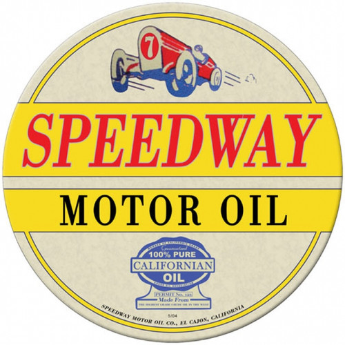 Vintage Speedway Oil Round Metal Sign 14 x 14 Inches