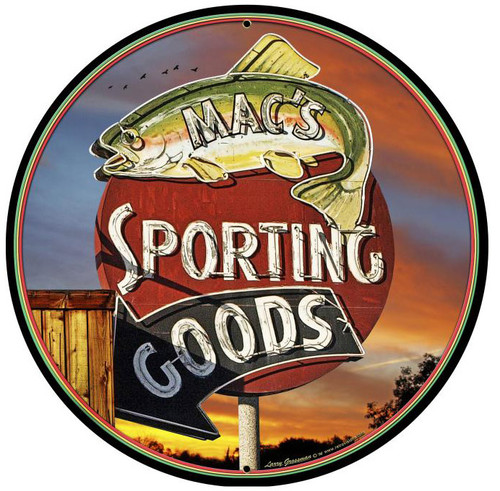 Sporting Goods Round Metal Sign 28 x 28 Inches