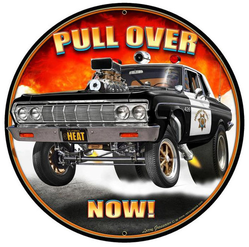 Pull Over Now Round Metal Sign 28 x 28 Inches