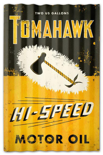 Tomahawk Oil Corrugated Rustic Barn  Sign 16 x 24 Inches