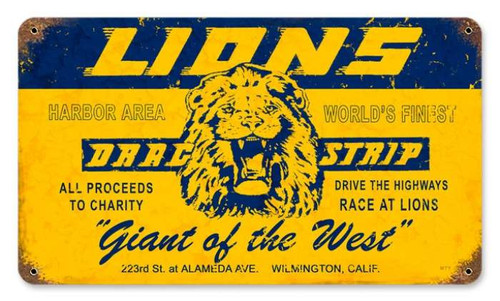 Vintage Lions Drag Strip Metal Sign  14 x 8 Inches
