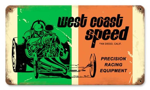 Vintage West Coast Speed Metal Sign 14 x 8 Inches