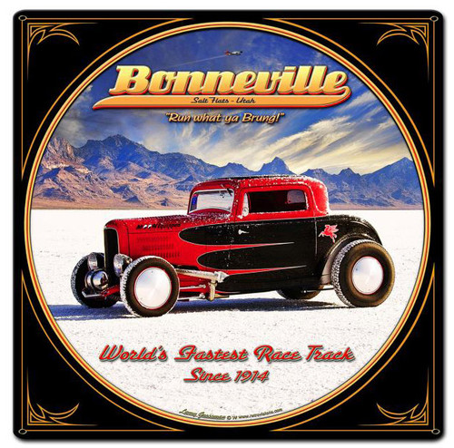 Bonneville Custom Shape Metal Sign 18 x 18 Inches