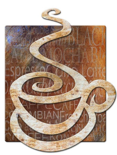 Coffee 3D Rustic Sign 24 x 24 Inches