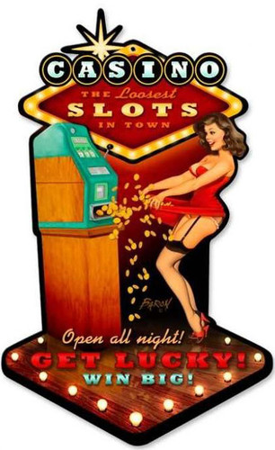 Vintage Casino Pinup Custom Shape  - Pin-Up Girl Metal Sign 10 x 17 Inches