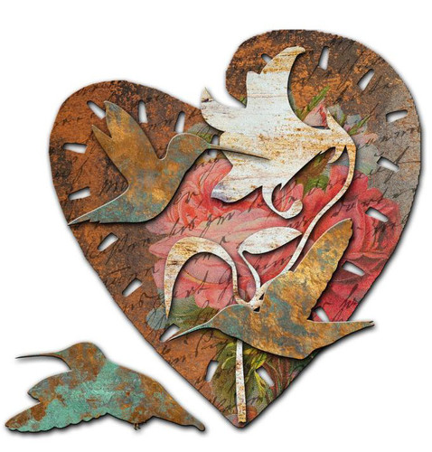 Hummingbirds Custom Shape Metal Sign 24 x 24 Inches