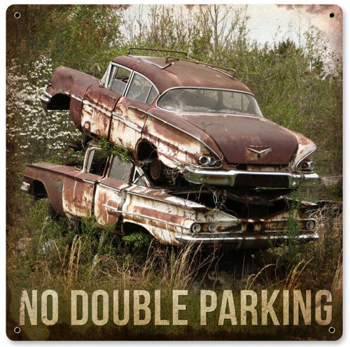 No Double Parking Retro Metal Sign 12 x 12 Inches