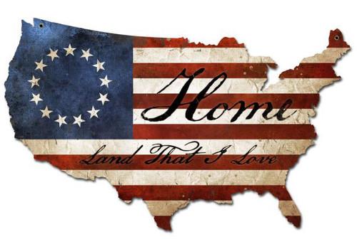 USA Flag Home Retro Custom Shape Metal Sign 25 x 16 Inches