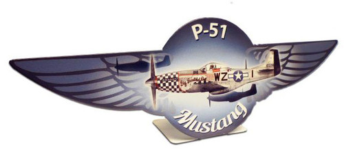 P51 Mustang  Table Topper Metal Sign 12 x 4 Inches