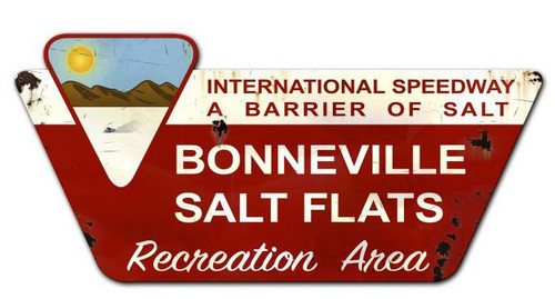 Bonneville Salt Flats Created Custom Shape  Metal Sign 36 x 18 Inches