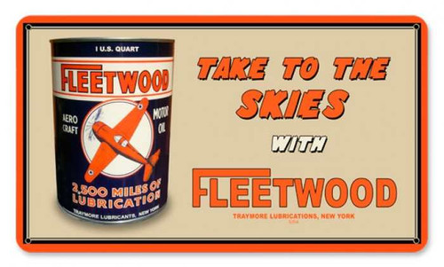 Vintage Fleetwood Oil Metal Sign 14 x 8 Inches