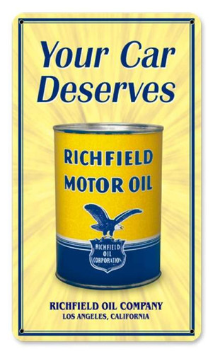 Vintage Richfield Oil Can Metal Sign   8 x 14 Inches