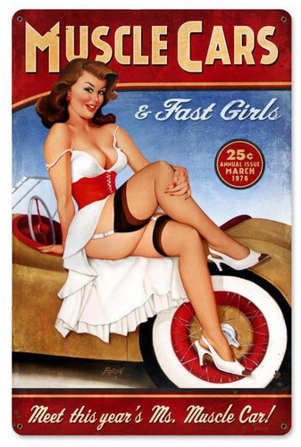 Muscle Cars Pinup Metal Sign 12 x 18 Inches