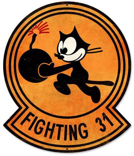 Tomcatters Fighting 31 Custom Shape Metal Sign 15 x 17 Inches
