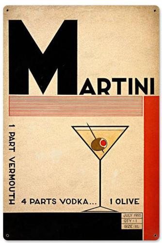 Martini Deco Metal Sign 24 x 36 Inches