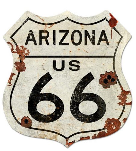 Route Arizona US 66 XXL Shield Metal Sign 40 x 42 Inches